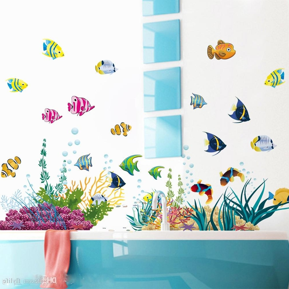 Fish Decals For Bathroom Inside Widely Used Diy Tropical Fish Nursery Room Cartoon Undersea World Wall Sticker (View 8 of 15)