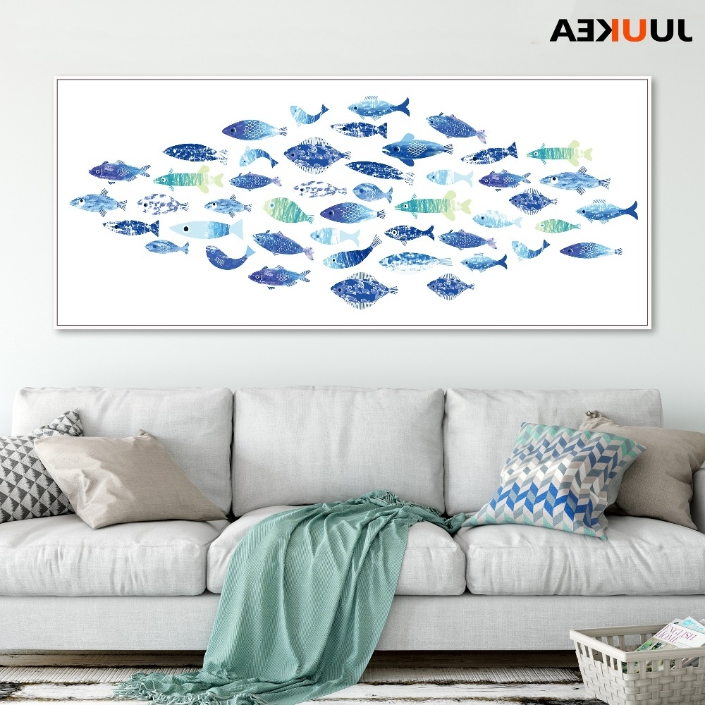 Fish Shoal Wall Art Inside 2018 Large Size Nordic Blue Kawaii Shoal Of Fish Canvas Art Print (View 6 of 15)