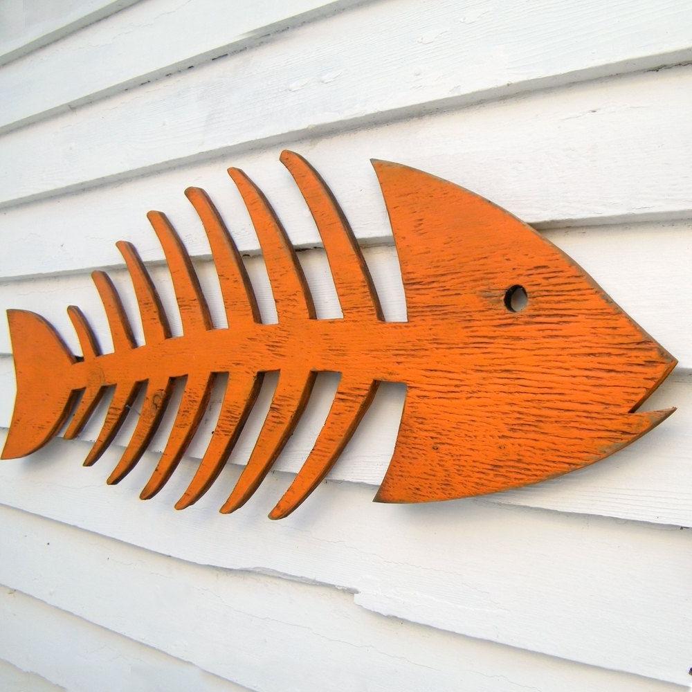 Fish Skeleton Sign Beach Coastal Indoor Outdoor Sign. $ (View 8 of 15)