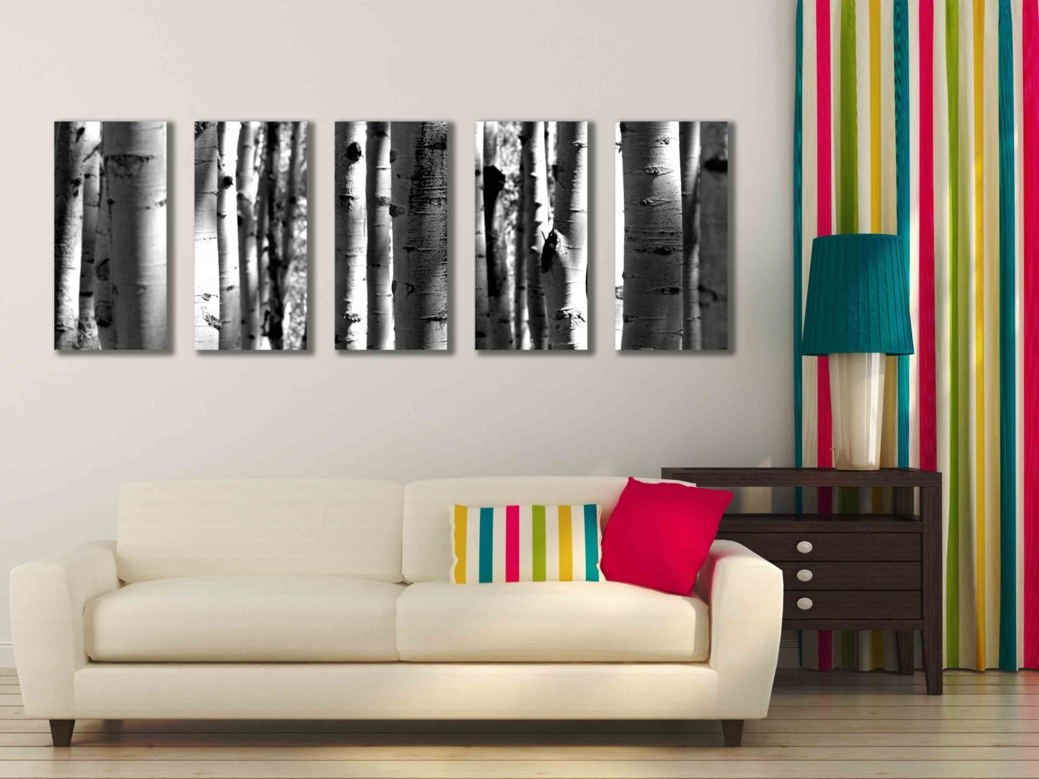 Five Multi Panel 10X20 Inch Canvas Print Black And White Aspen Inside Current Aspen Tree Wall Art (View 10 of 15)