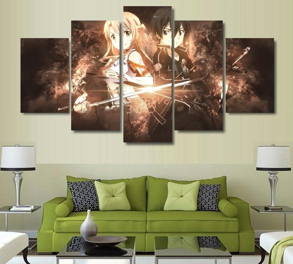 Five Piece Wall Art With Newest 5 Panels Wall Art Anime Sword Art Online Kirito Sao 5 Pieces (View 7 of 15)