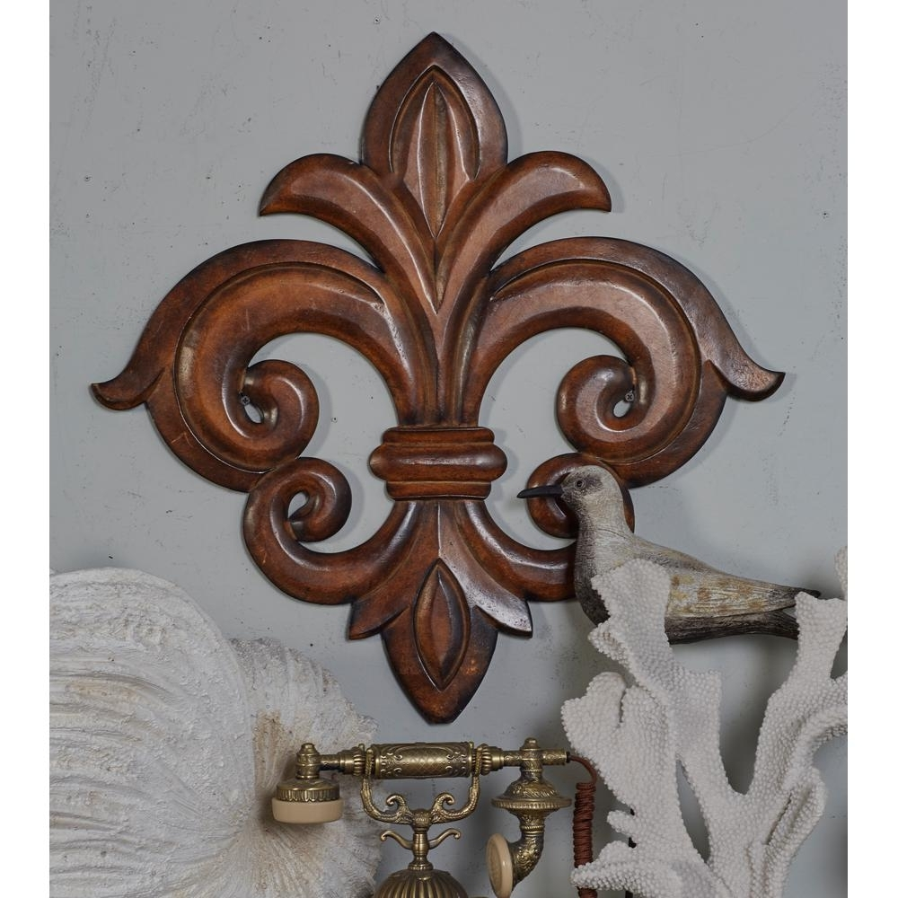 Fleur De Lis Metal Wall Art Intended For Most Recently Released French Inspired Carved Fleur De Lis Wooden Wall Art 14304 – The (View 6 of 15)