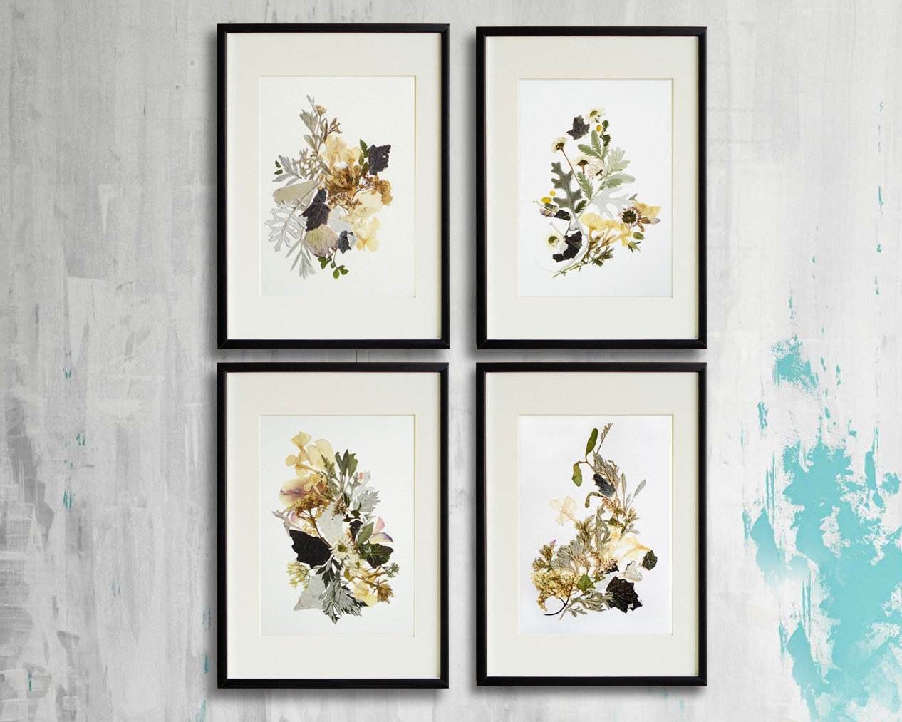 Floral & Plant Wall Art In Recent Set Of 4 Framed Prints Plant Art Contemporary Art Dry Flower Decor (View 5 of 15)