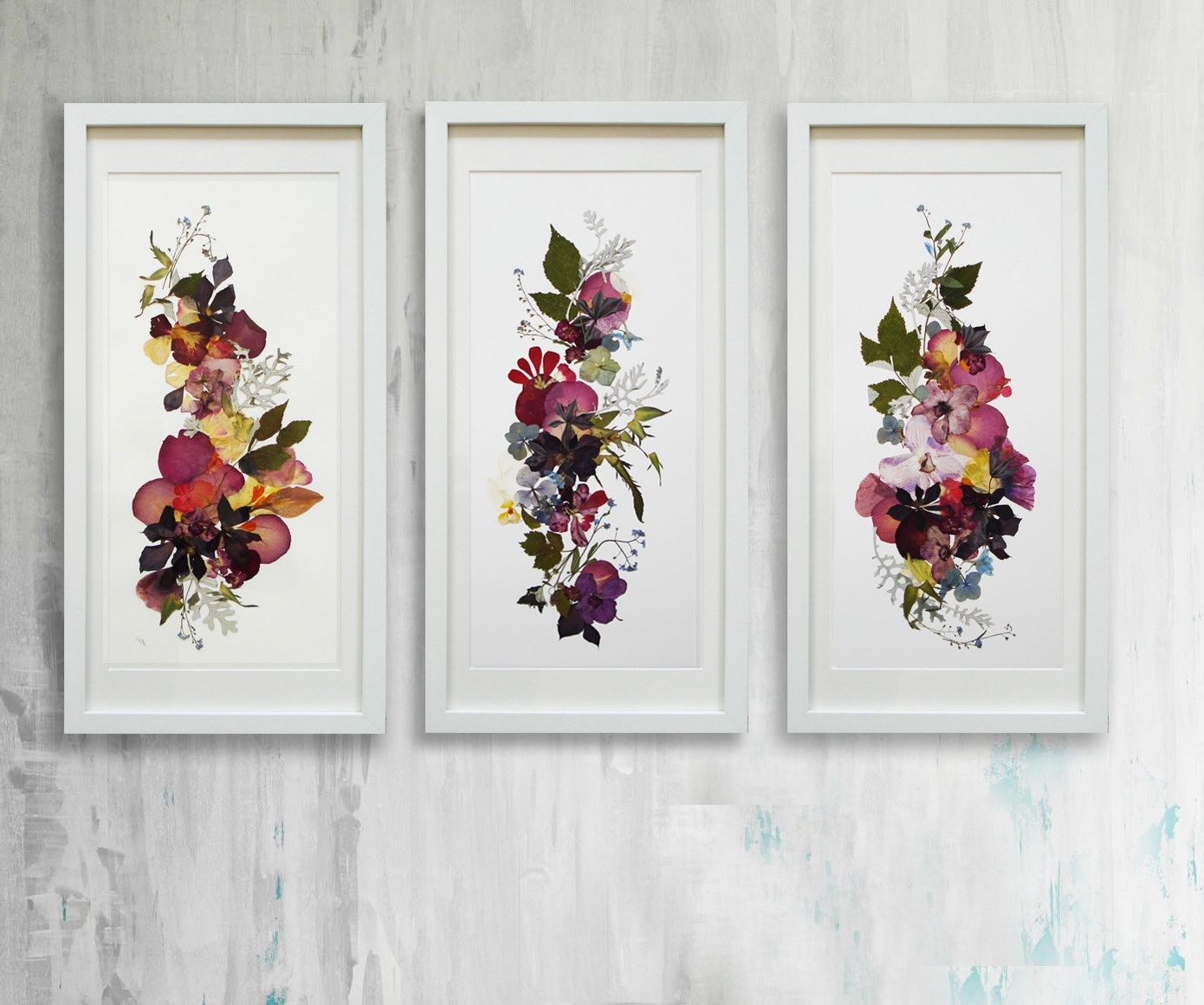 Floral & Plant Wall Art Pertaining To Fashionable Floral Print Pressed Flowers Wall Art Botanical Print Herbarium (View 6 of 15)