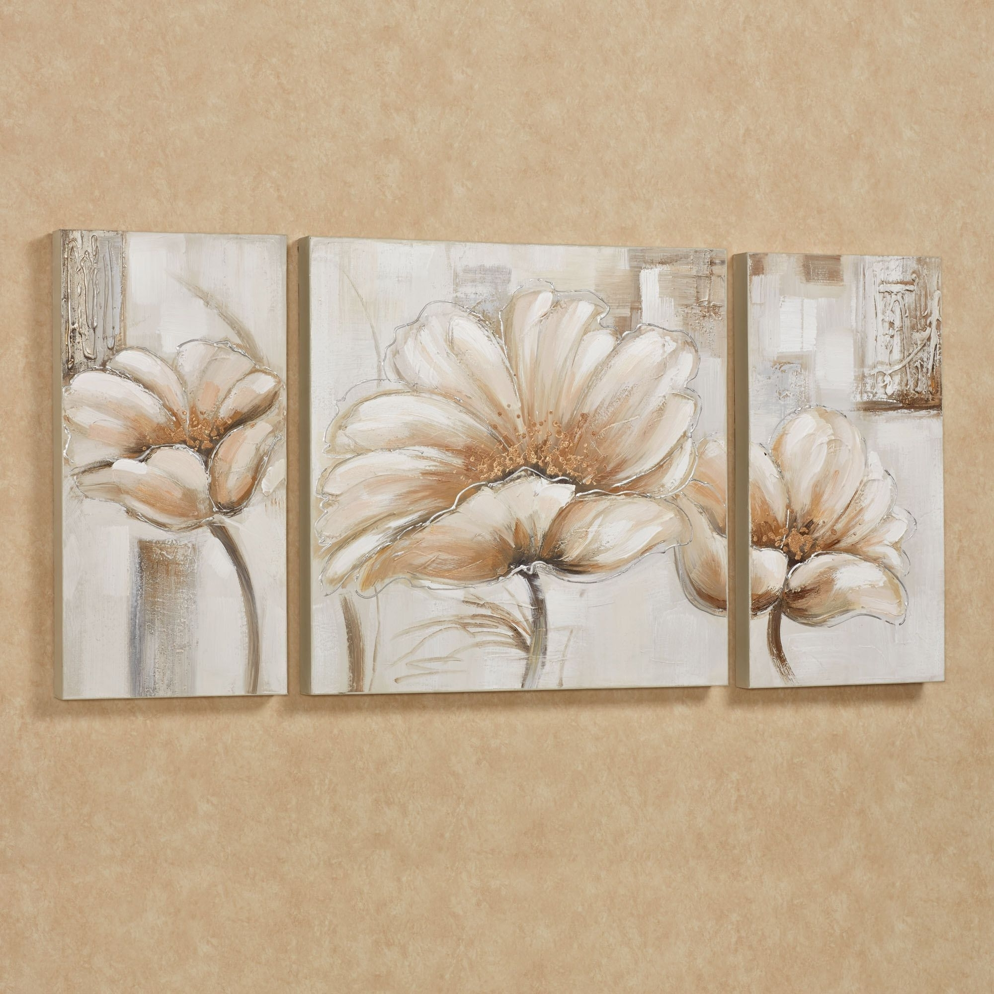 Floral Wall Art Canvas For Fashionable Blooming Splendor Floral Triptych Canvas Art Set (View 6 of 15)