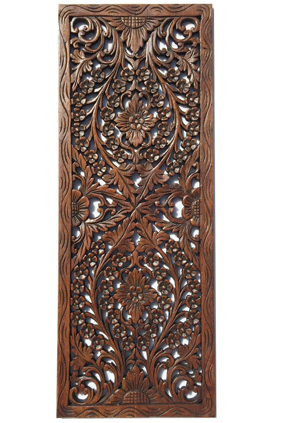 Floral Wood Carved Wall Panel. Wall Hanging (View 3 of 15)