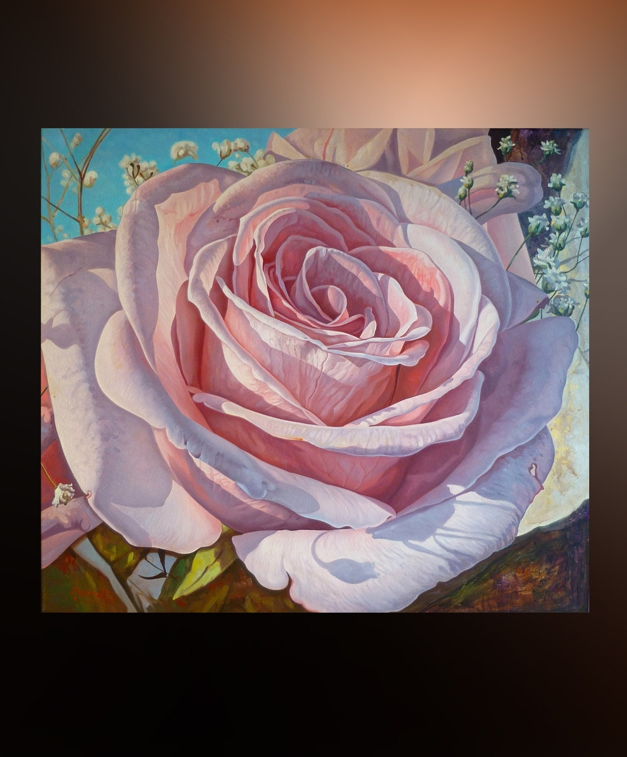 Flower Rose Large Wall Art Canvas Oil Painting Original Artwork Pertaining To 2017 Rose Canvas Wall Art (View 3 of 15)