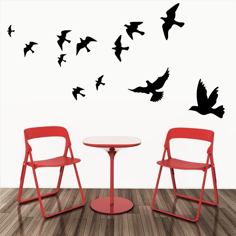 Flying Pigeon Bird Wall Art Stickers Decal Diy Home Decoration For Most Up To Date Flock Of Birds Wall Art (View 8 of 15)