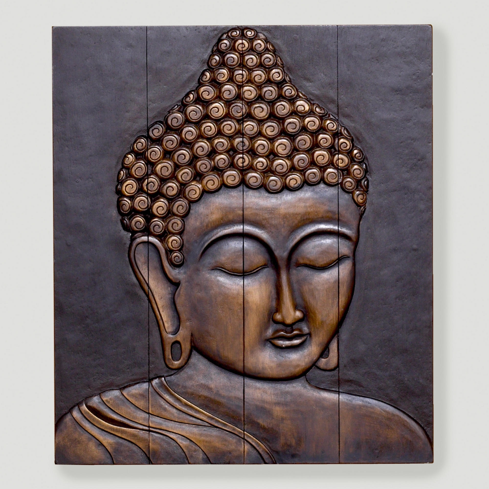 Hand Carved Wooden Thai Buddha Face Wall Art Plaque: 15 Ideas Of Buddha Wooden Wall Art