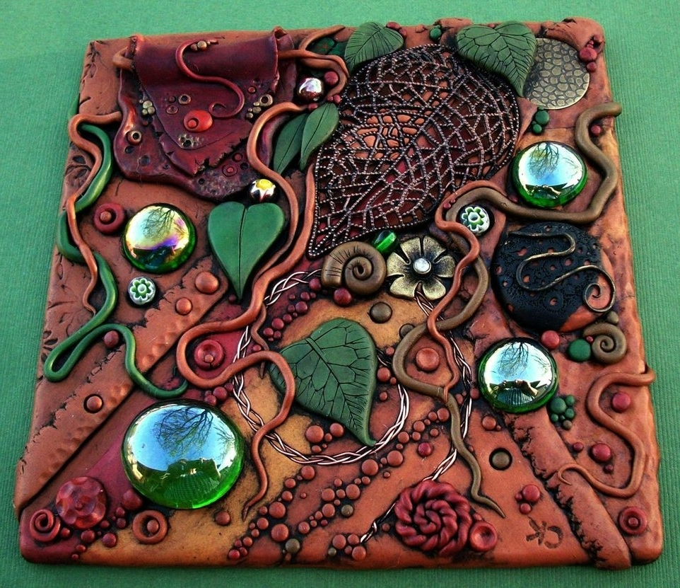 Forest Floor Polymer Clay Tile Throughout Polymer Clay Wall Art (View 3 of 15)