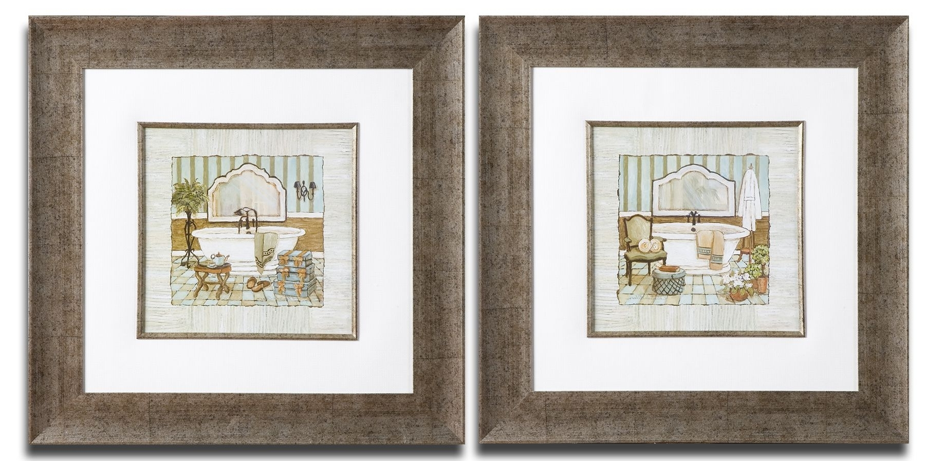 Framed Art For Bathroom, French Bathroom Prints Vintage Intended For Most  Popular French Country Wall