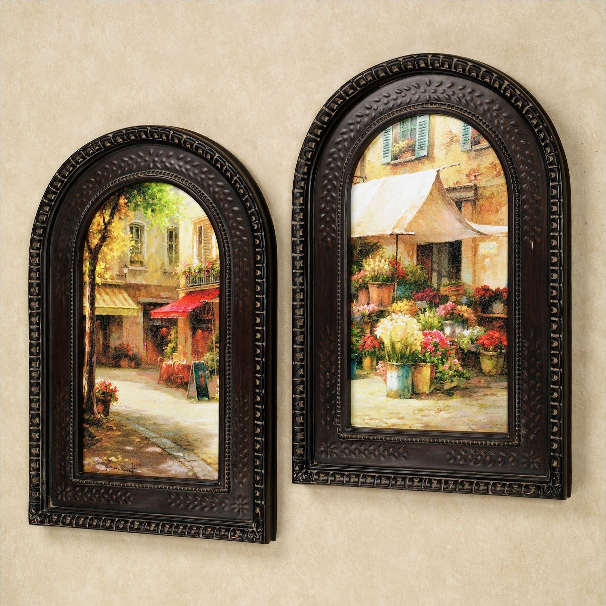 Framed Italian Wall Art With Regard To Well Known The Flower Market Arched Framed Wall Art Set (View 3 of 15)