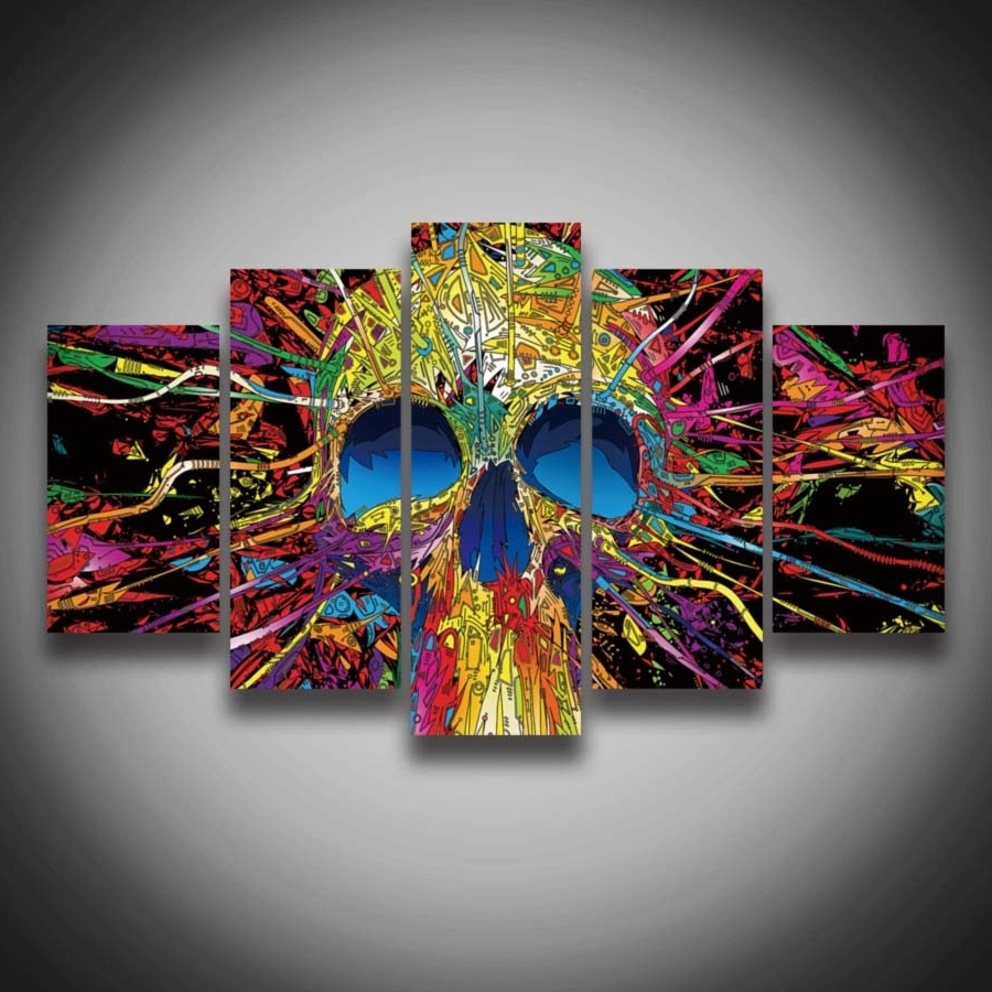 Framed Printed Modern Style Skull Designs Picture Painting 5 Inside Most Popular Ottawa Abstract Wall Art (View 10 of 15)