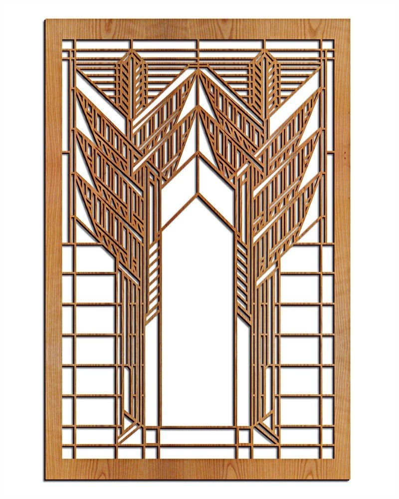 Frank Lloyd Wright Wall Art Intended For Popular Frank Lloyd Wright Double Dana Sumac Wood Art Screen Wall Panel (View 7 of 15)