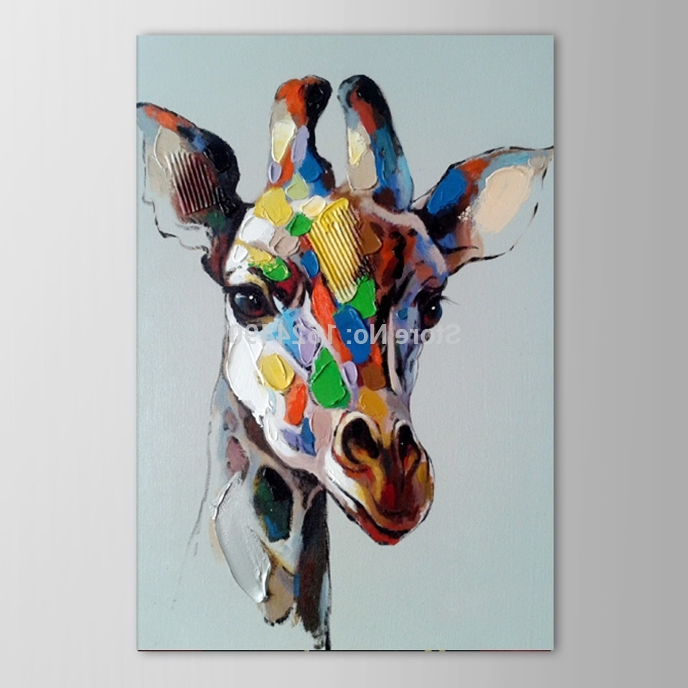 Free Shipping Hot Hand Painted Abstract Animals Oil Painting On Within Most Recently Released Animal Canvas Wall Art (View 6 of 15)