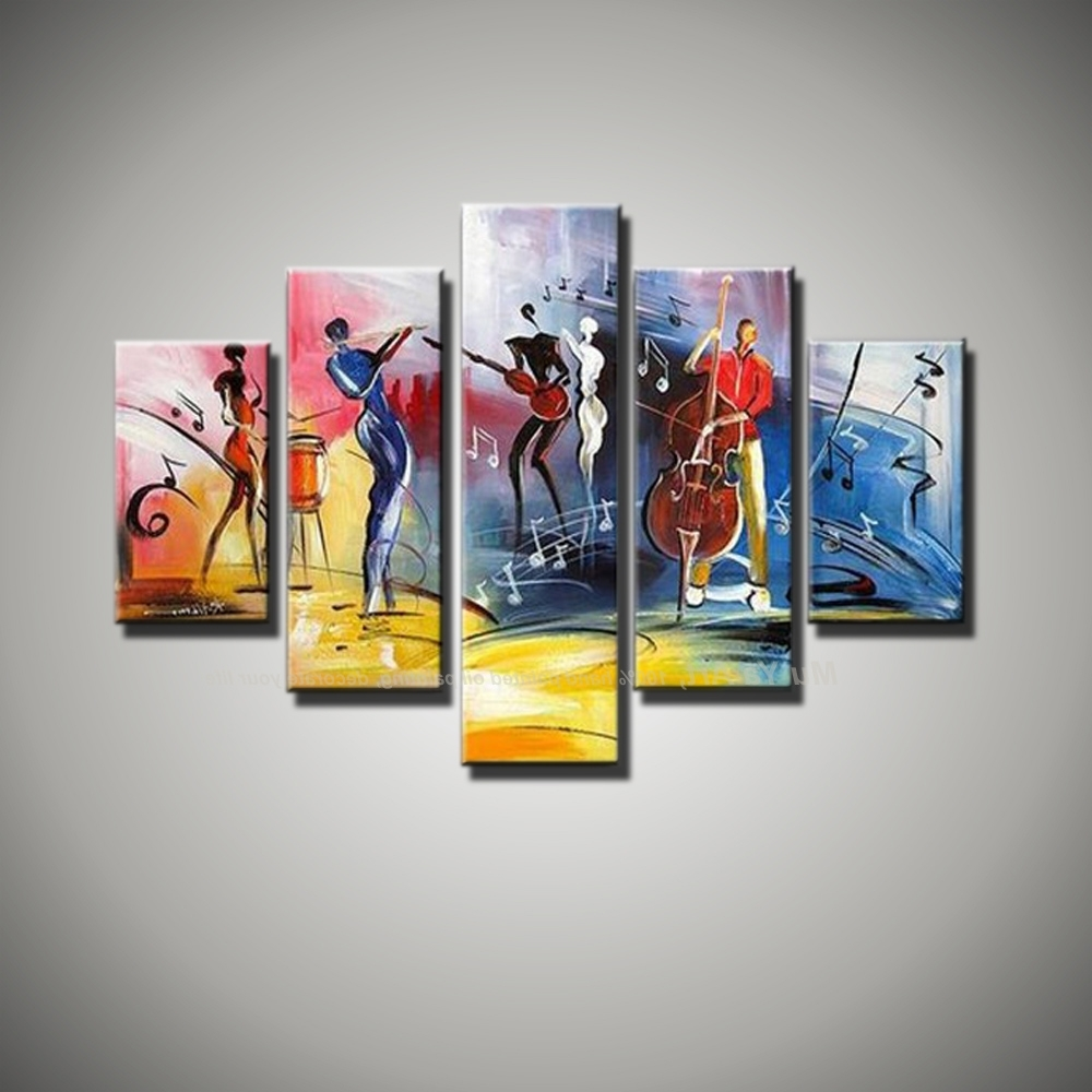 Free Shipping Modern Abstract Figure Painting Painted 5 Piece With Regard To Most Recent Abstract Music Wall Art (View 7 of 15)