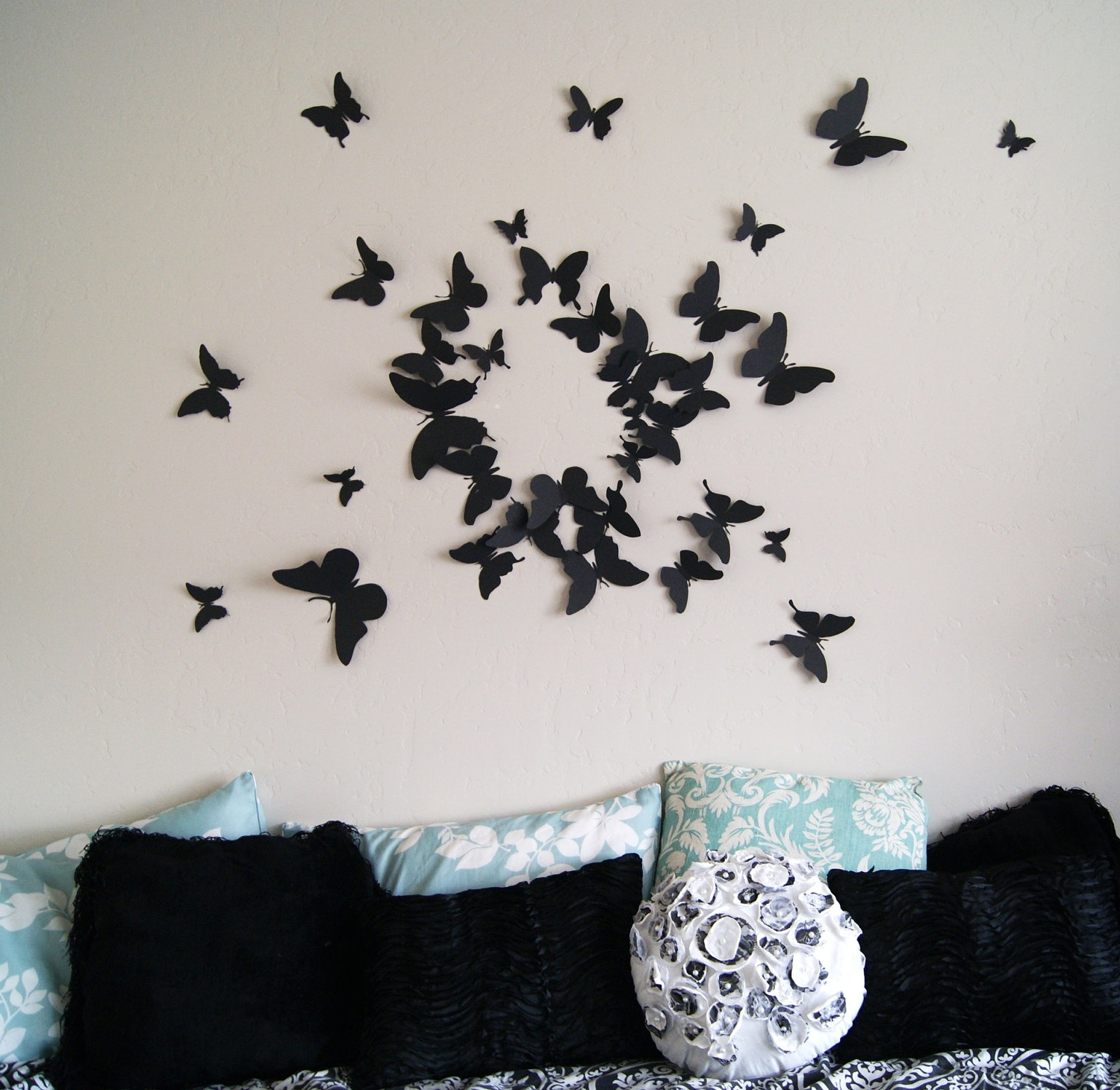 Free Us Shipping 40 3D Butterfly Wall Art Circle Burstleeshay With Fashionable 3D Wall Art For Bedrooms (View 10 of 15)
