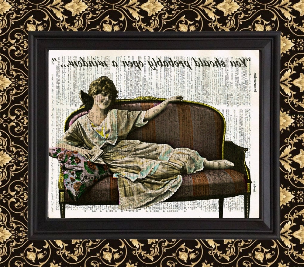 French Bathroom Wall Art Within Well Known French #lady Relaxing #funny Art Print Ephemera Home Bathroom (View 9 of 15)