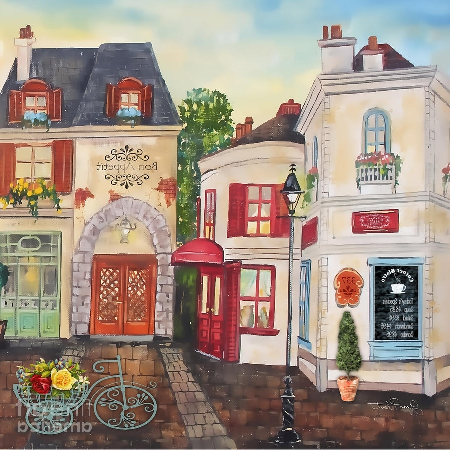French Street Scene Jp3206 Paintingjean Plout Inside 2018 Street Scene Wall Art (View 5 of 15)