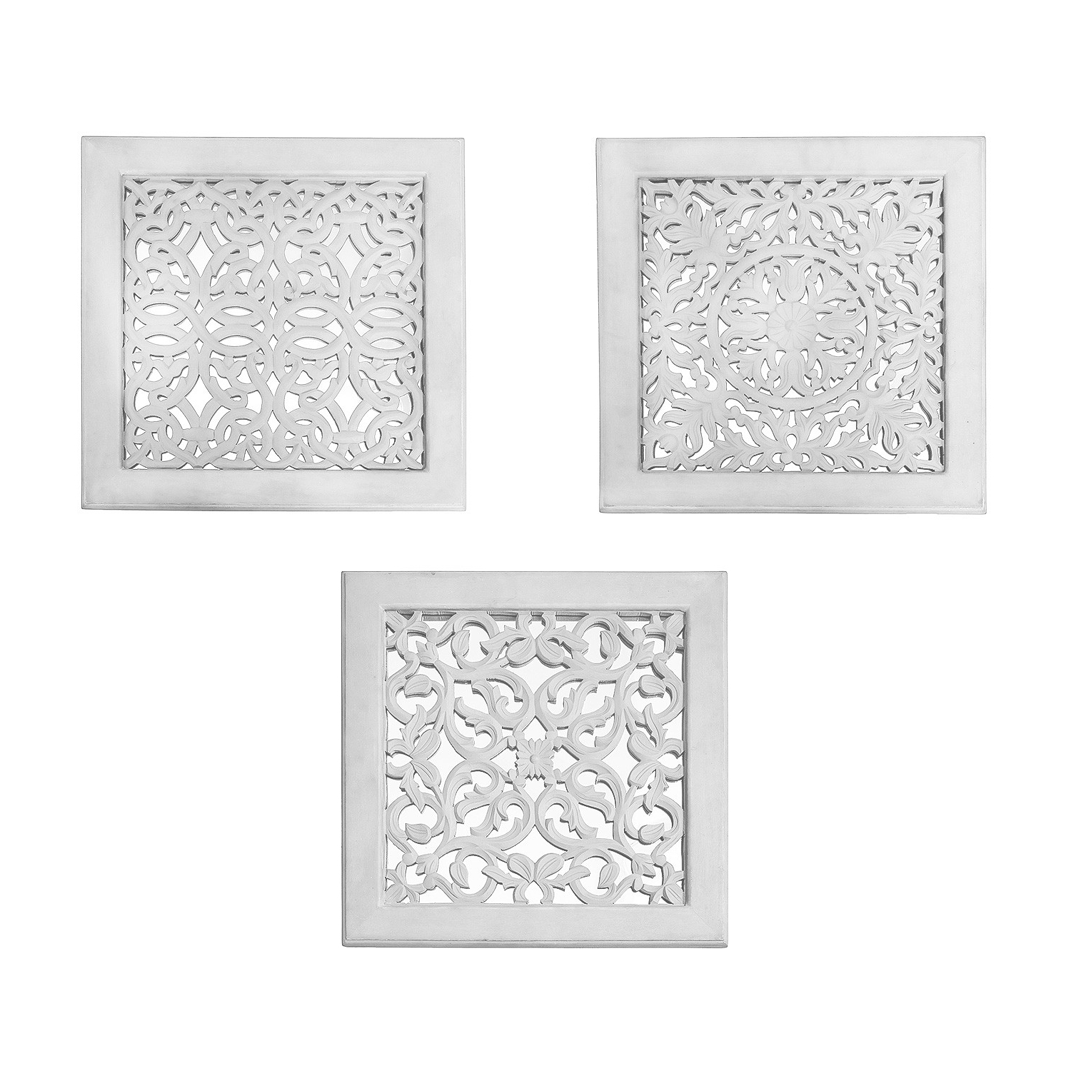 Fretwork Wall Art: White (Set Of 3) (View 5 of 15)