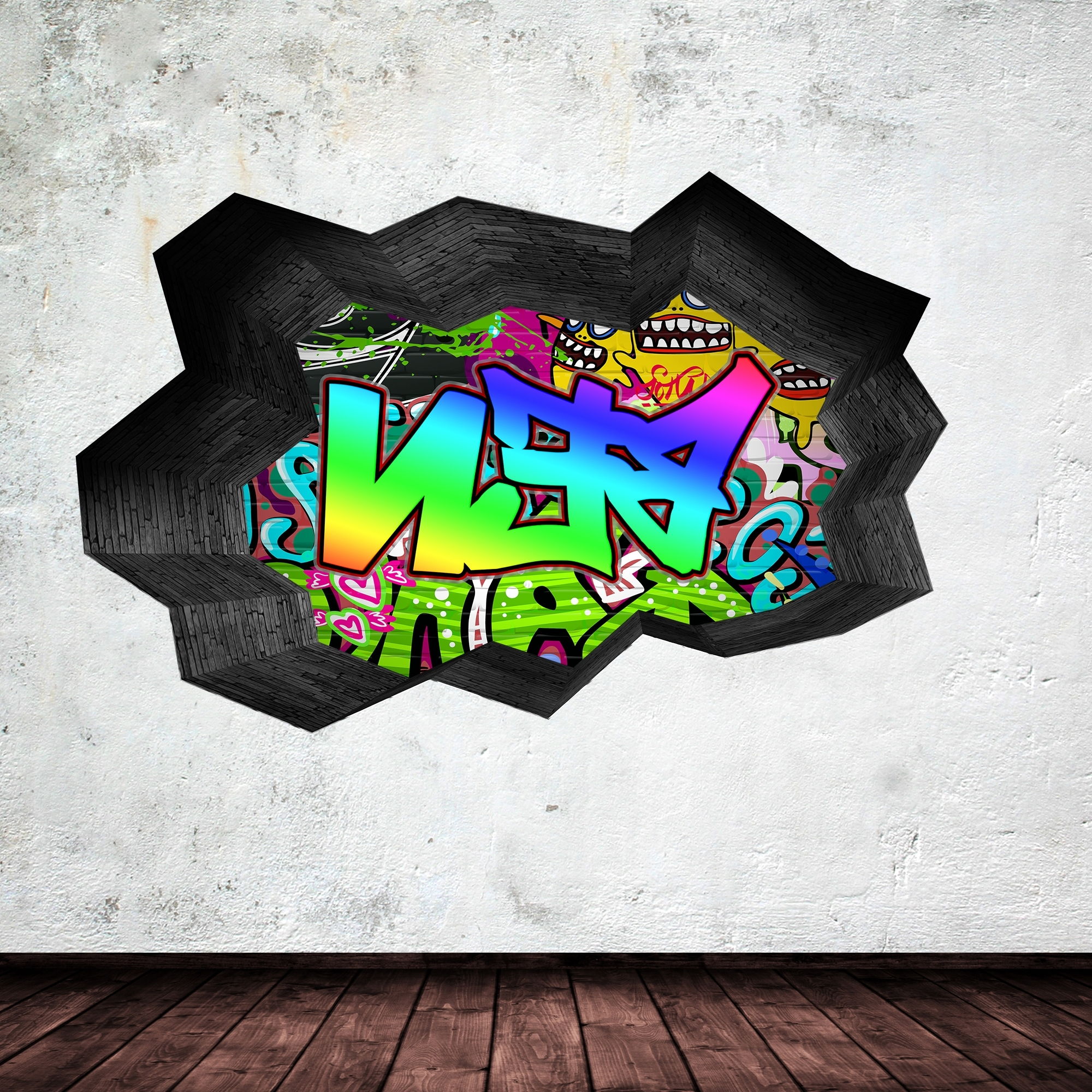 Full Colour Personalised 3d Graffiti Name Cracked Wall Sticker Pertaining To Latest Personalized Graffiti Wall Art (View 9 of 15)