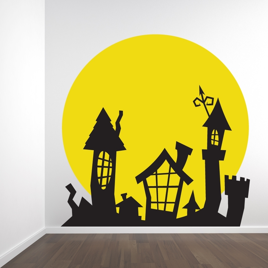 Full Moon Spooky Rooftop Wall Decal Sticker Regarding Most Current Tim Burton Wall Decals (View 4 of 15)