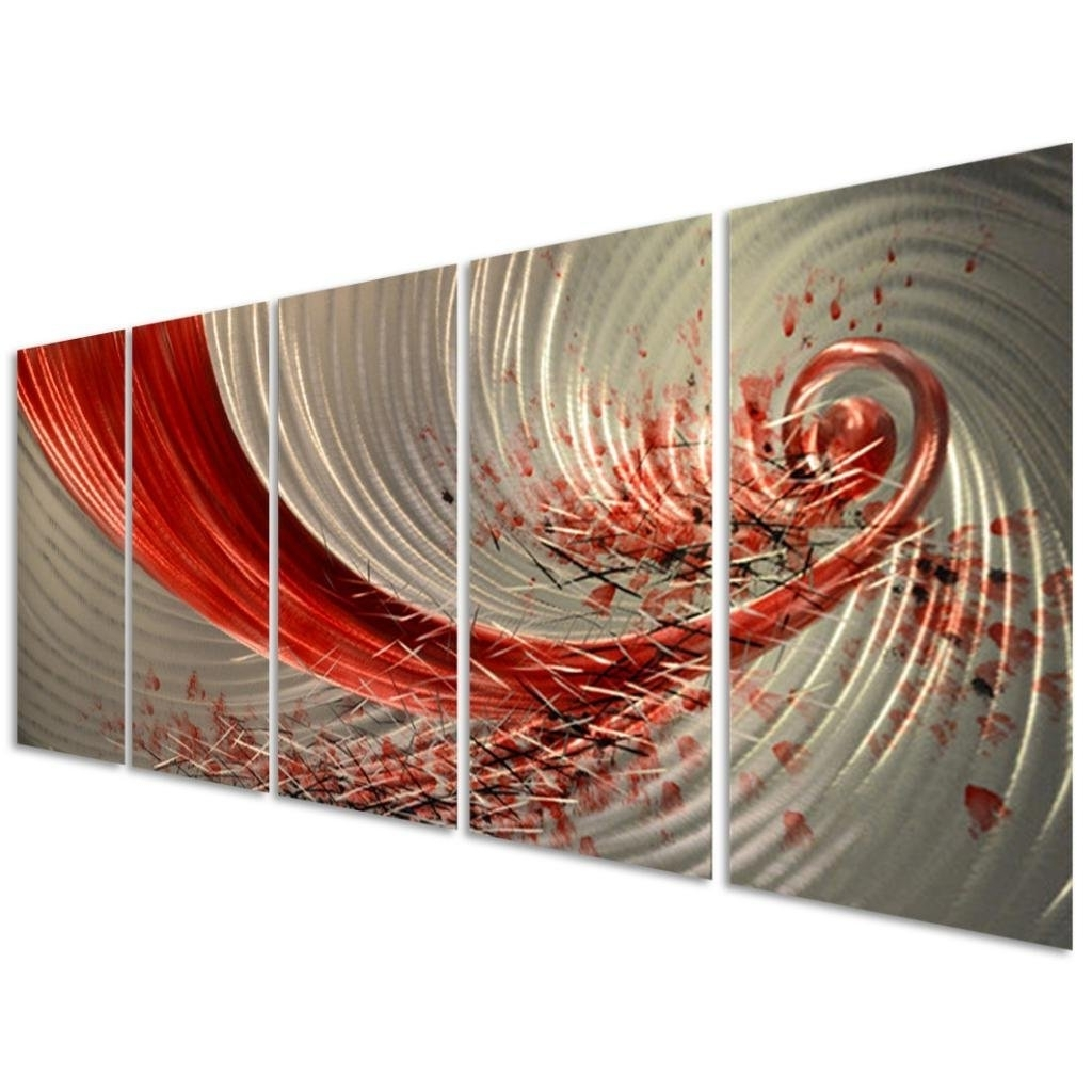 Funky Metal Wall Art With Widely Used Amazon: Pure Art Red Explosion Metal Wall Art – Large Abstract (View 6 of 15)