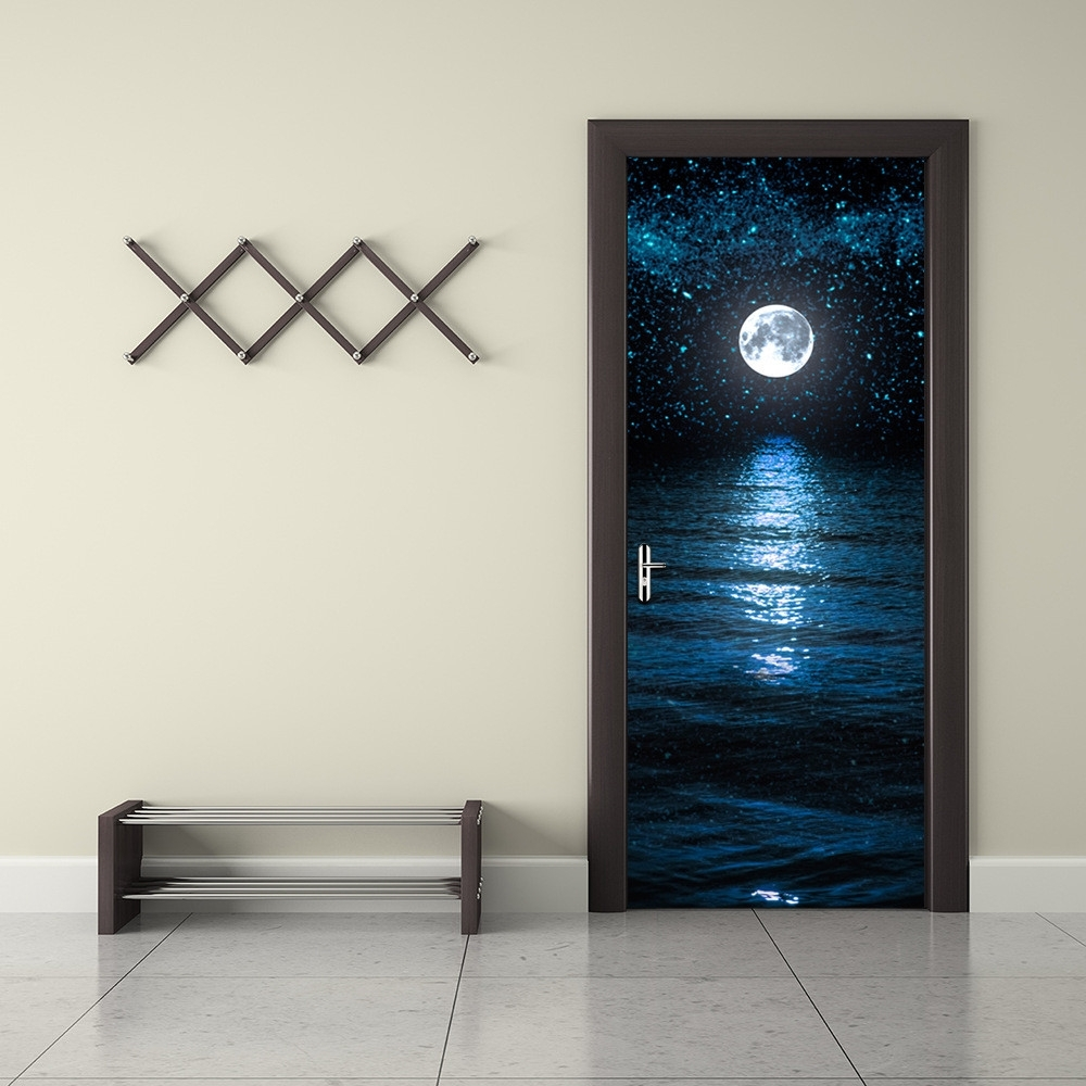 Funlife Moon And Stars Wall Paper Waterproof Mural Poster Bathroom Regarding Latest 3D Wall Art For Bathroom (View 9 of 15)