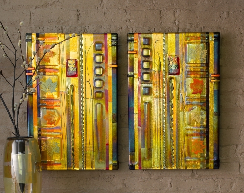 Fused Glass And Metal Wall Art Within Preferred Amber Leaf Panels Mark Ditzler Art Glass Wall Art Glass Wall (View 6 of 15)