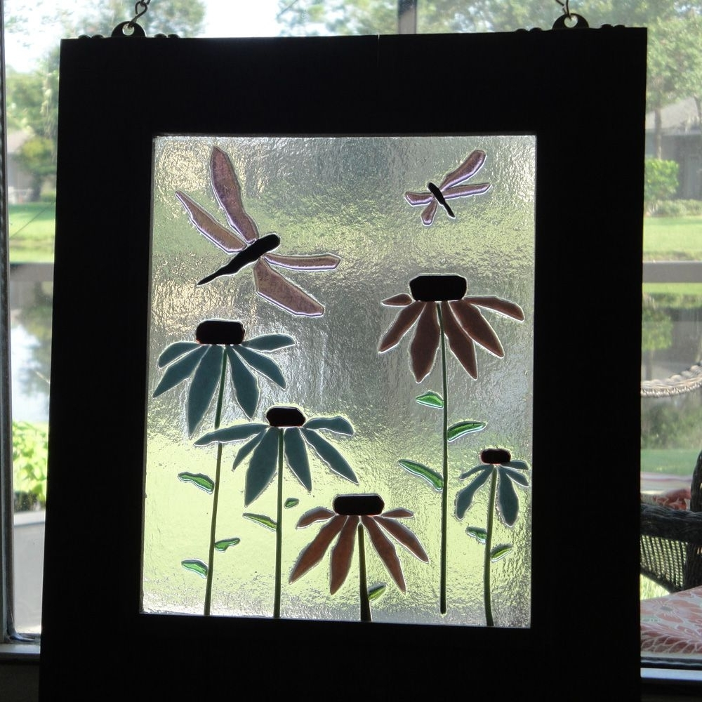 Fused Glass Flower Wall Art With Regard To Fashionable Art Coneflower Dragonfly Hanging Flower Fused Stained Glass Window (View 8 of 15)