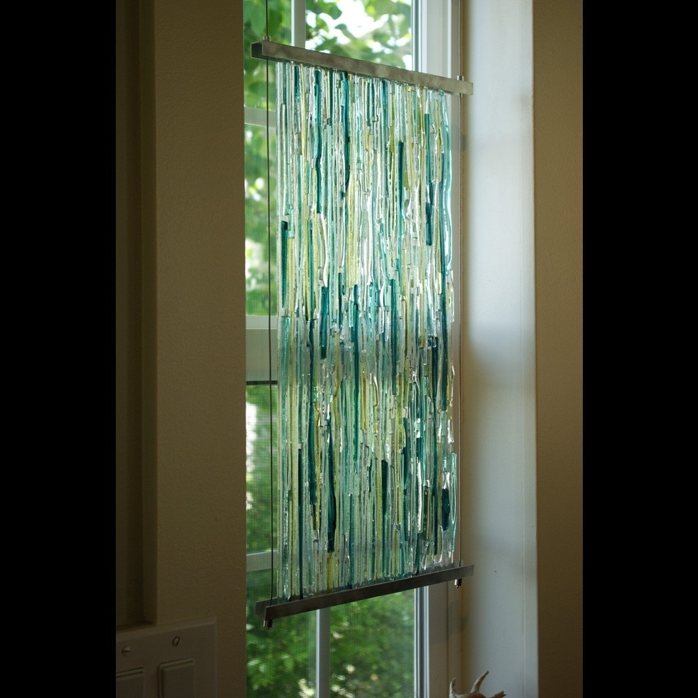 Fused Glass Wall Art Hanging With Preferred Textured Fused Glass Sculpture With Aluminum Frame And Stainless (View 10 of 15)