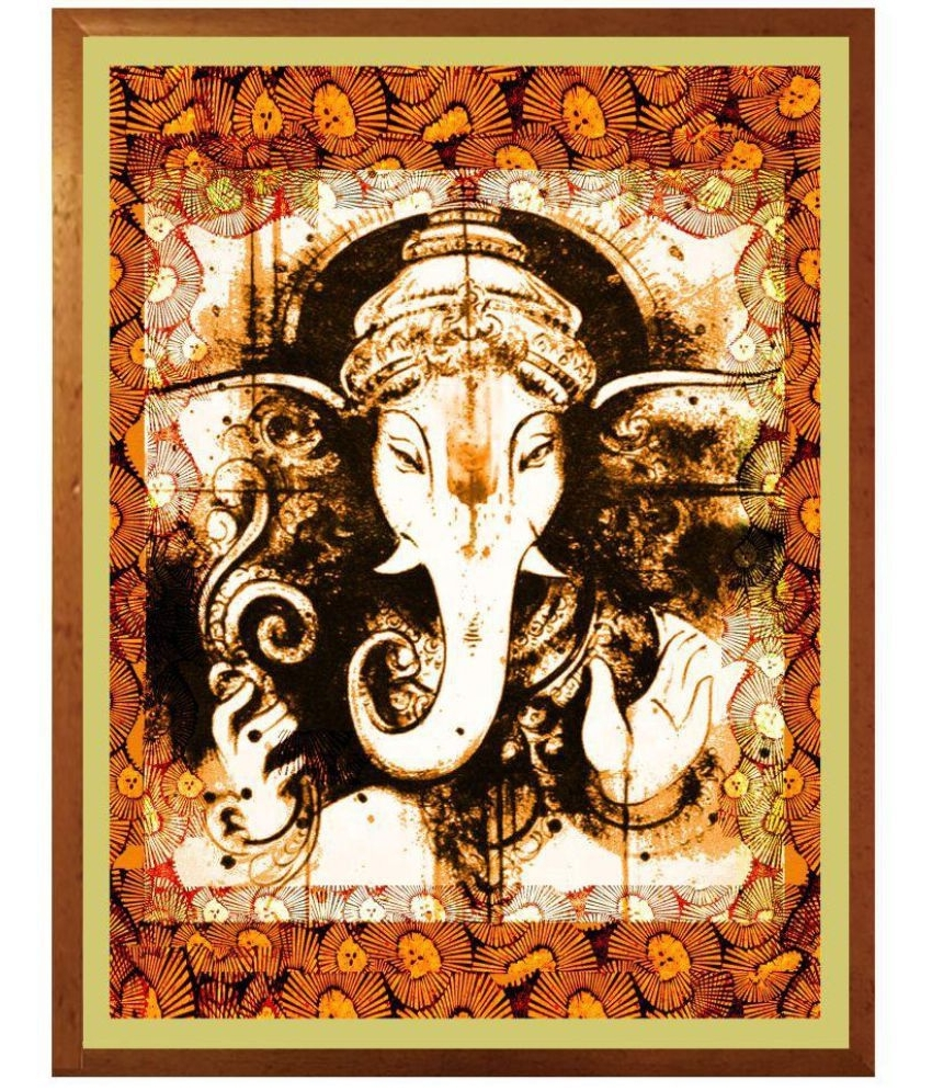 Ganesh Wall Art With Popular Antaram Designs Ganesh Wall Art Canvas Painting With Frame Single (View 7 of 15)