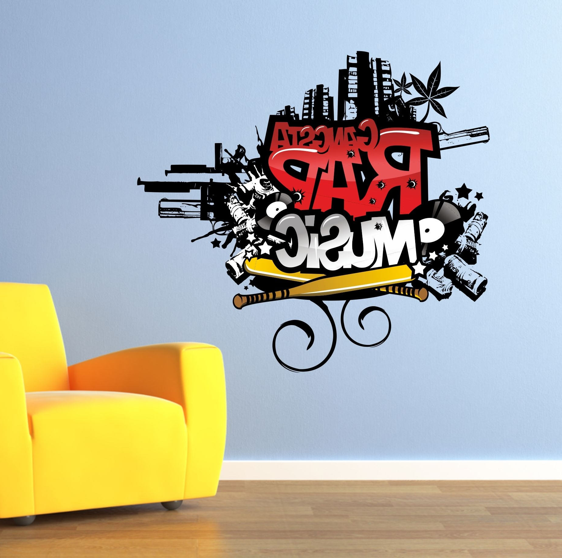 Gangsta Rap Music Graffiti Wall Art Sticker (Gallery 8 of 15)