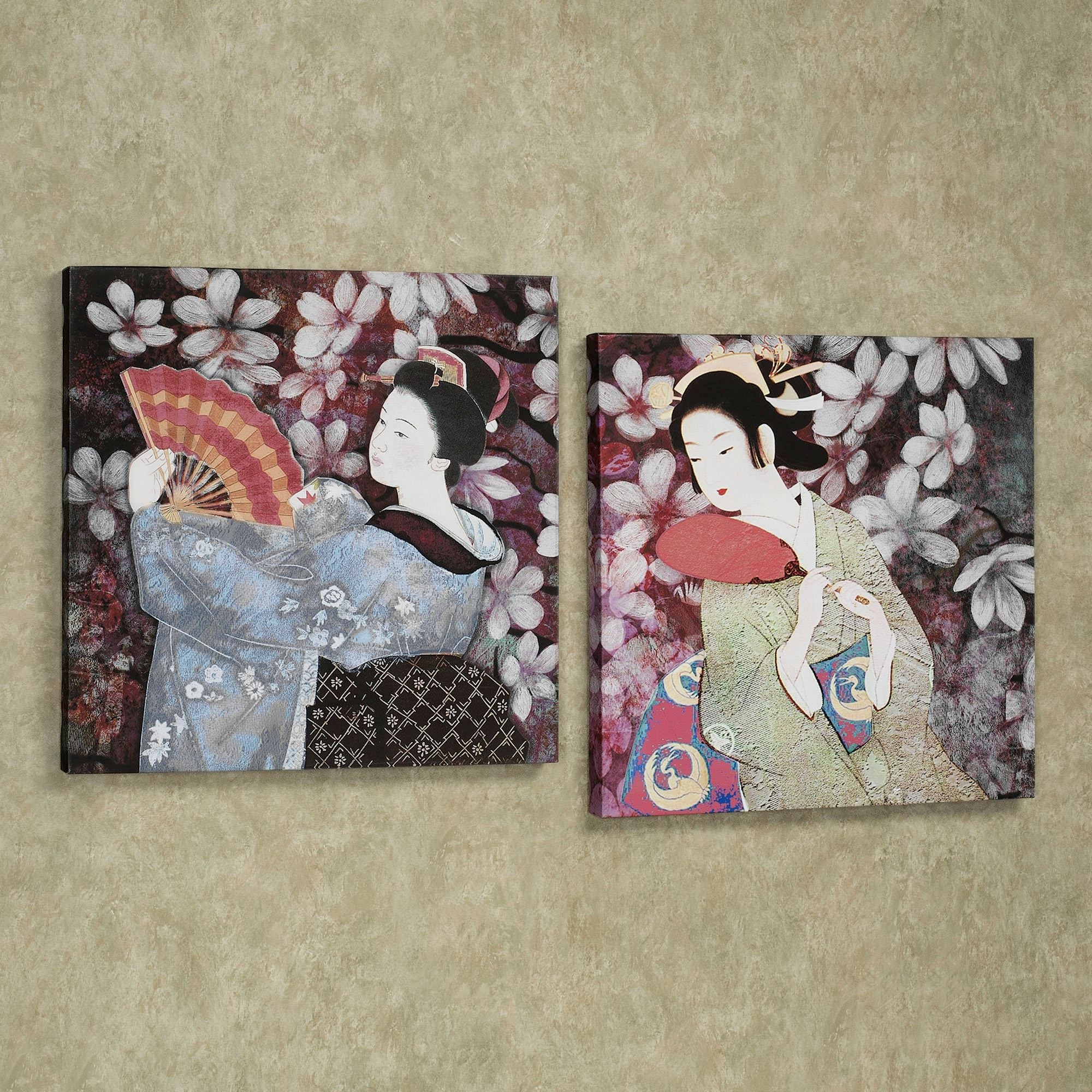 Geisha Canvas Wall Art Pertaining To Most Current Geisha Gardens Giclee Canvas Wall Art Set (View 5 of 15)