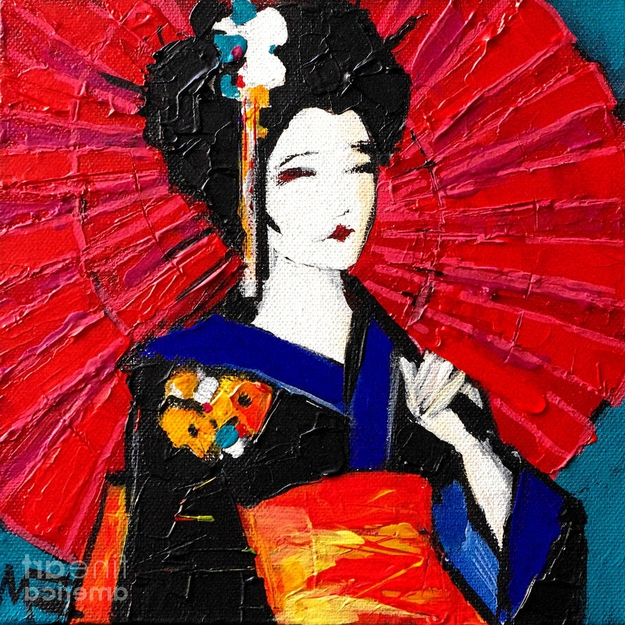 Geisha Paintingmona Edulesco For Recent Geisha Canvas Wall Art (View 8 of 15)