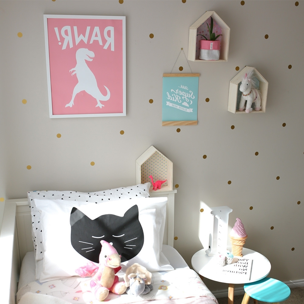 Girls Room Decor With Pink Dinosaur Wall Art (View 5 of 15)