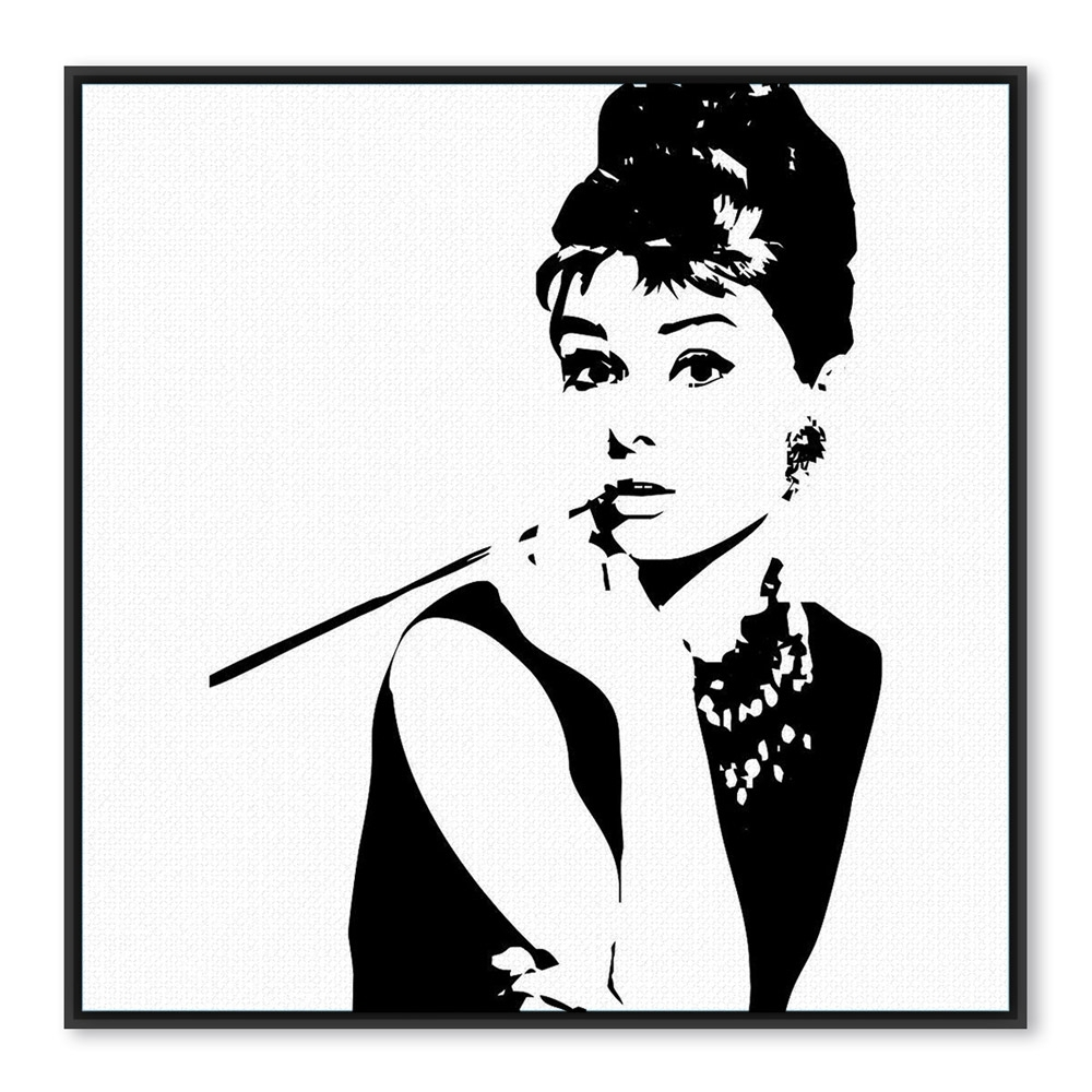 Glamorous Audrey Hepburn Wall Art Within Trendy Modern Minimalist Black White Audrey Hepburn Portrait Pop Movie (View 11 of 15)