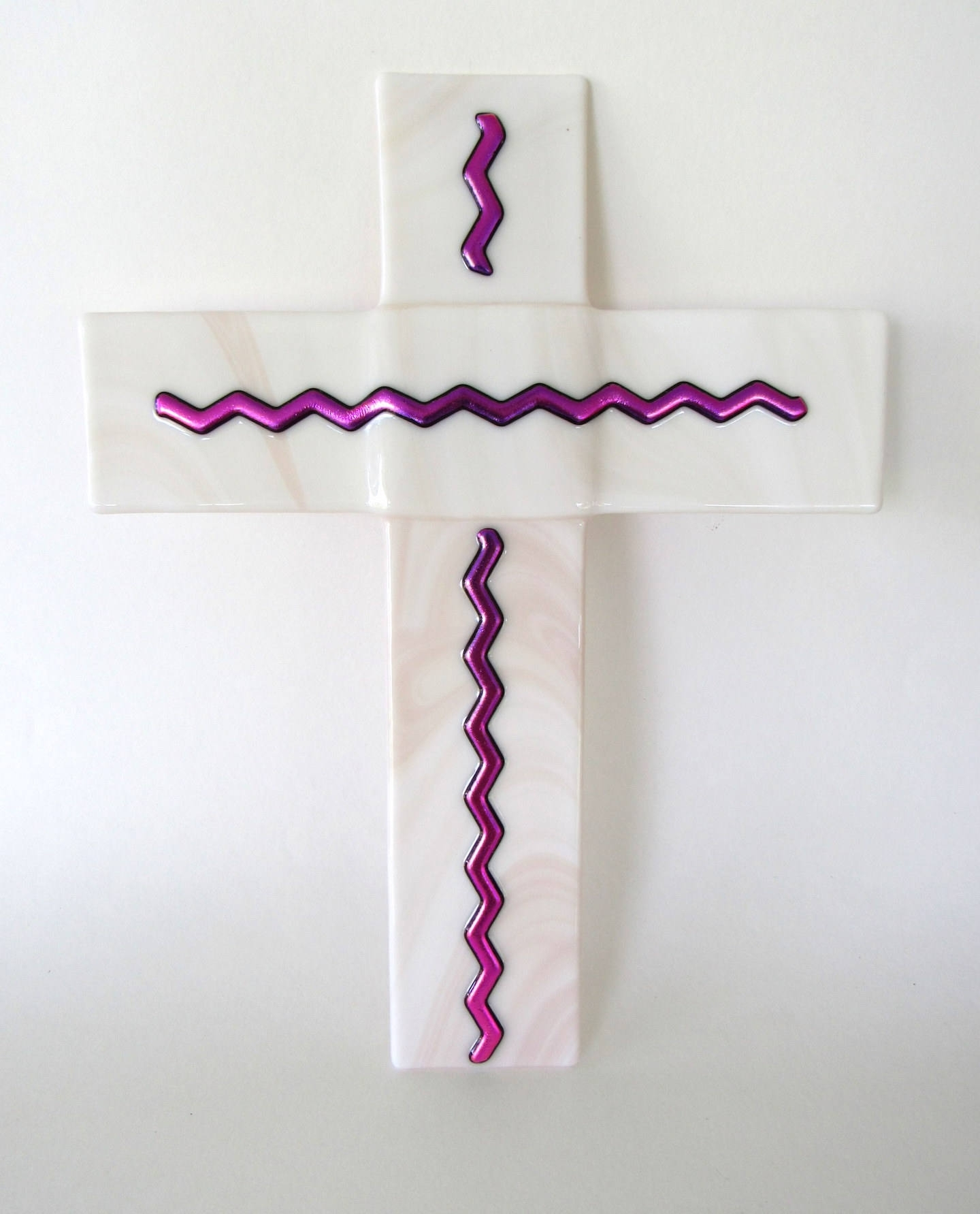 Glass Wall Cross Handmade Large Fused Wall Art Glass Pink Mauve Intended For Most Current Fused Dichroic Glass Wall Art (View 11 of 15)