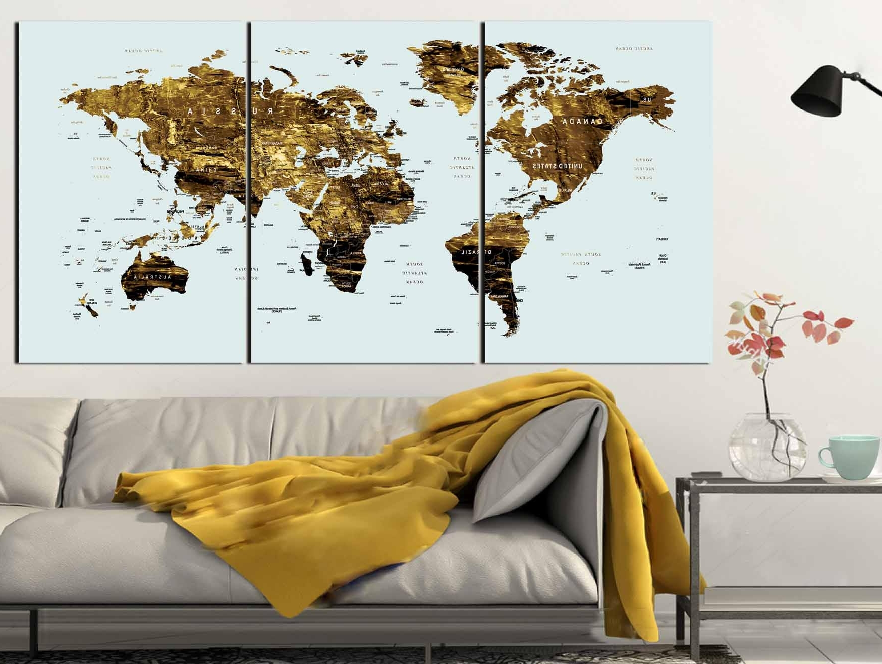 Gold Color Map Art,world Map Canvas Art,world Map Wall Art,large With Newest Maps For Wall Art (View 11 of 15)