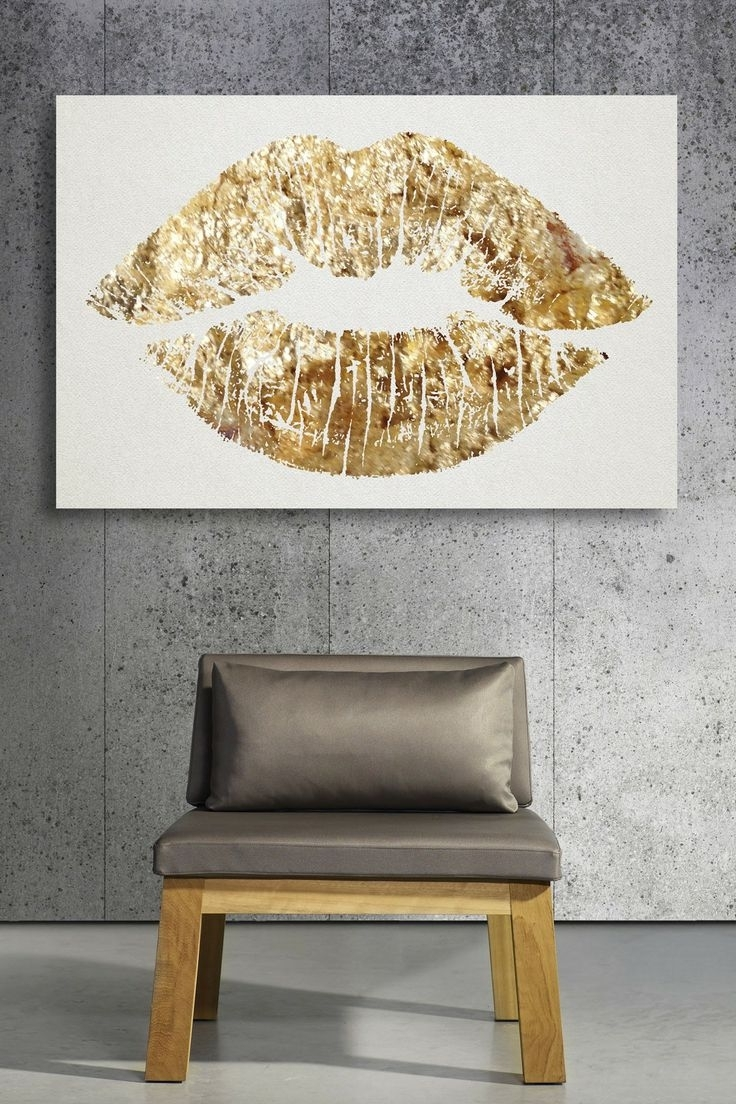 Gold Lips, Canvases Pertaining To Feminine Wall Art (View 1 of 15)
