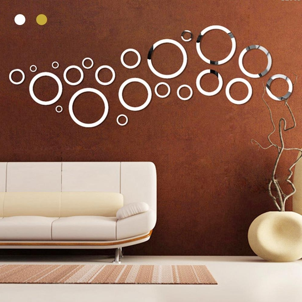 Gold Silver Round Circles Wall Mirror Acrylic Mirror Decorative With Regard To Recent 3D Circle Wall Art (View 8 of 15)