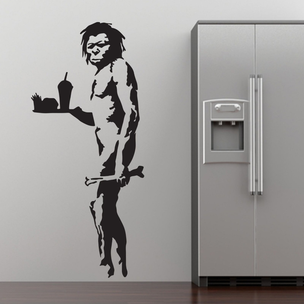 Graffiti Wall Art Stickers In Trendy Banksy Fast Food Caveman Graffiti Wall Art Sticker Decal Home Diy (Gallery 15 of 15)