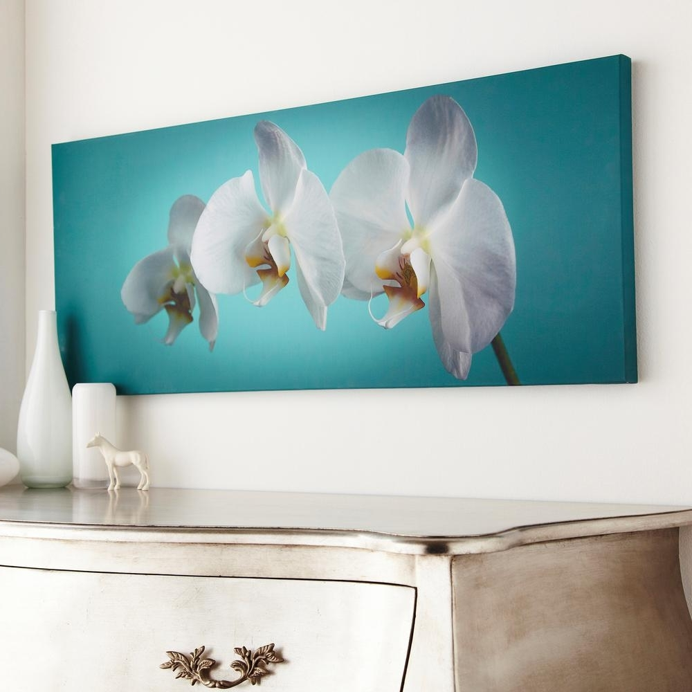 "Graham & Brown 39 In. X 16 In. ""teal Orchid""graham And Brown Pertaining To Newest Teal Flower Canvas Wall Art (Gallery 10 of 15)"