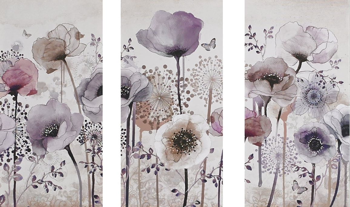 Graham & Brown 41 544 Classic Poppy Trio Printed Canvas Wall Art In Trendy Graham & Brown Wall Art (View 1 of 15)