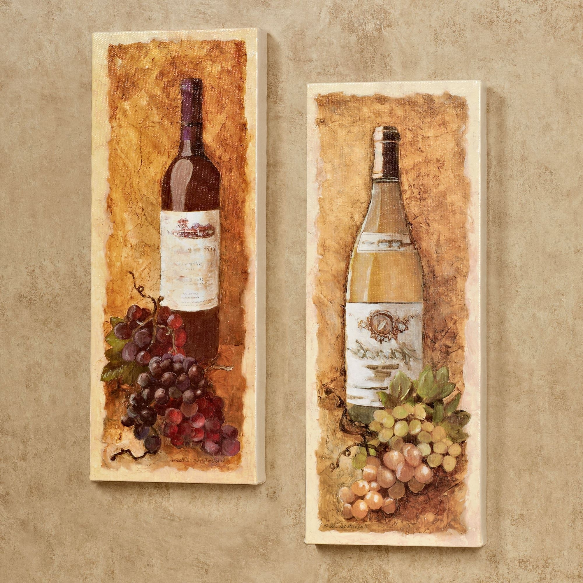 Grape Wall Art With Trendy Merlot And Chardonnay Wine Canvas Wall Art Set (View 8 of 15)