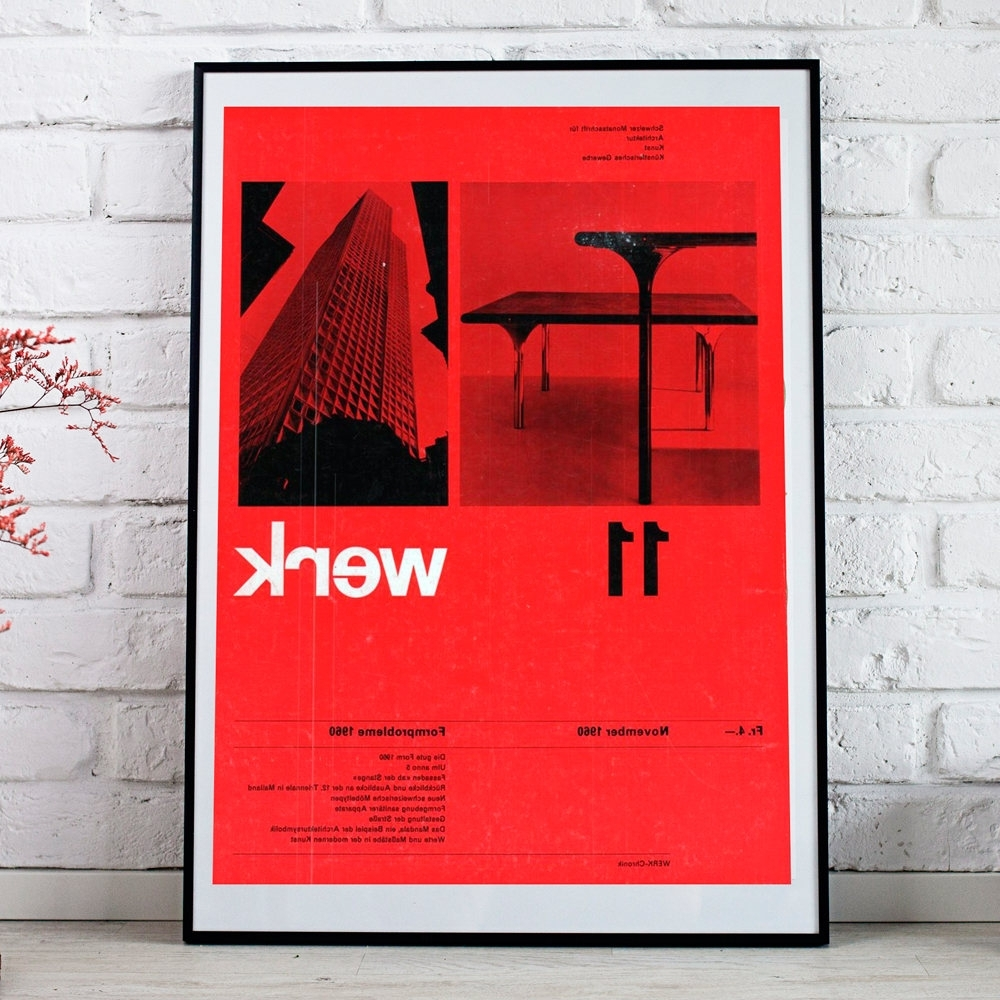 Graphic Design Wall Art Inside Most Popular Bauhaus Graphic Print Werk German Wall Art Poster Minimalist Red (Gallery 7 of 15)
