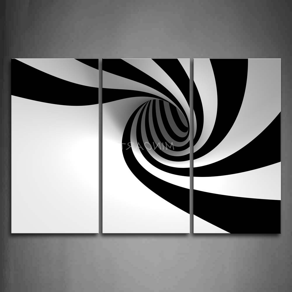 Gray Abstract Wall Art Regarding Preferred Wall Art Design: Black And White Abstract Wall Art Rectangle Black (View 6 of 15)