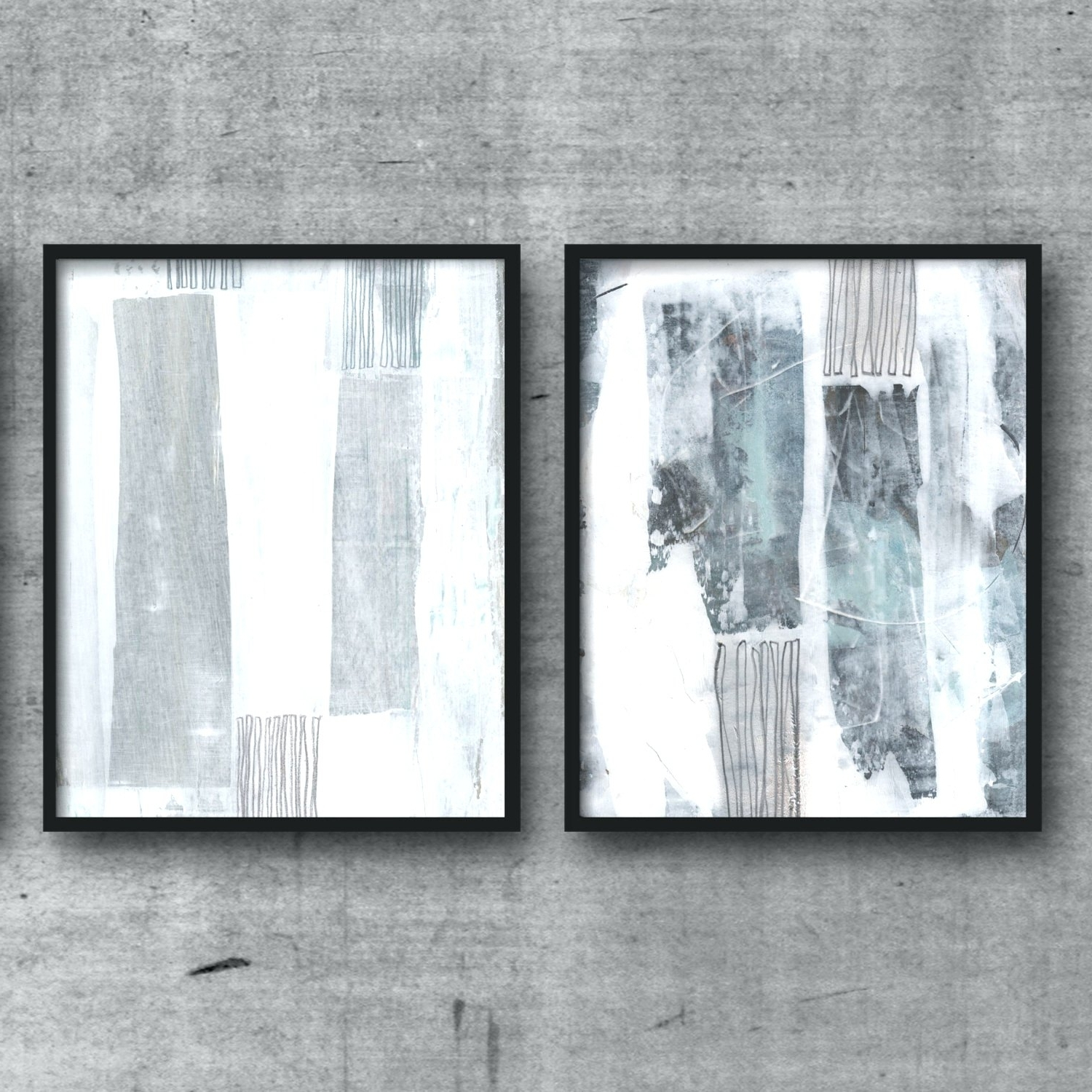 Gray And White Wall Art In Most Popular Wall Arts ~ Dark Blue And White Wall Art Original Art Abstract (View 5 of 15)