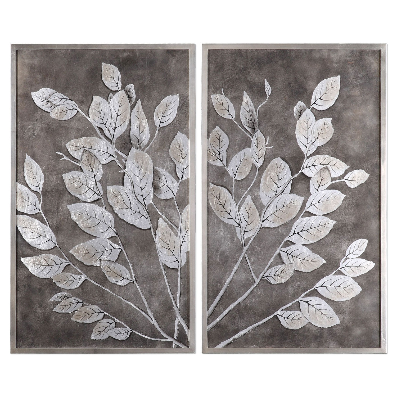 Gray And White Wall Art In Well Liked Money Tree Framed Art, Set Of 2 Uttermost Wall Art Wall Art Home Decor (View 12 of 15)