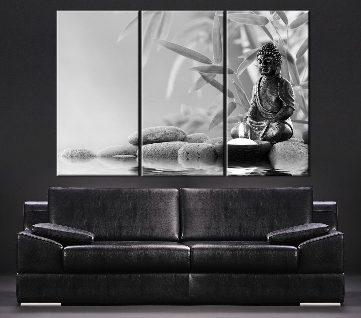 Gray And White Wall Art Pertaining To Most Popular Canvas Art Gray Buddha Statue Canvas Print – Large Wall Art Canvas (Gallery 15 of 15)